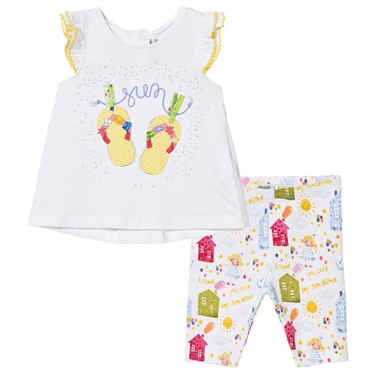Mayoral White and Yellow Vest and Printed House Set 10