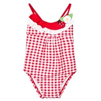 Mayoral Red Gingham and Frill Top Swimsuit 93