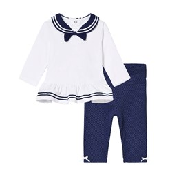 Mayoral White and Navy Sailor Top and Leggings Set