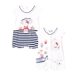 Mayoral Pack of 2 White and Navy Bear Print Rompers