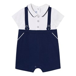 Mayoral White and Navy Button Detail Romper