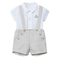 Mayoral White Shirt and Beige Linen Shorts Set 92