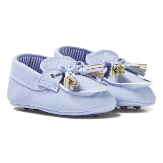 Mayoral Blue Suede Crib Moccasins 33