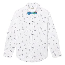 Billybandit White Leopard and Cactus Print Shirt and Bow Tie