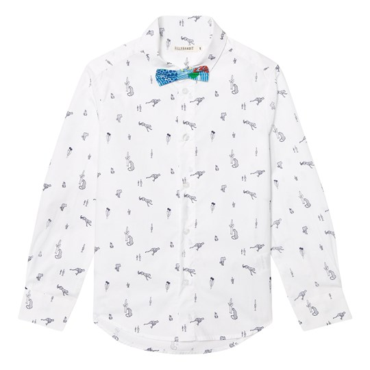 Billybandit White Leopard and Cactus Print Shirt and Bow Tie N68
