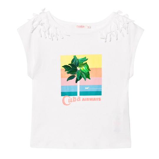 Billieblush White Cuba Tee with 3D Leaf Applique 105