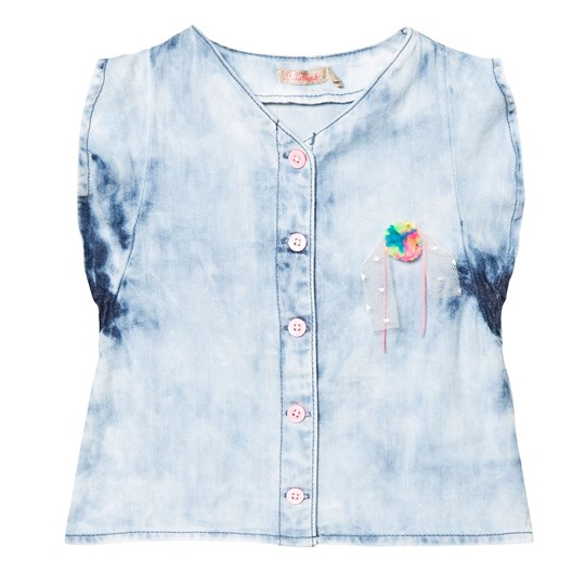 Billieblush Blue Acid Washed Denim Frill Top with Rainbow Pom Pom Z04