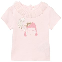 Billieblush Pale Pink Face Print Tee with Ruffle Tulle Collar