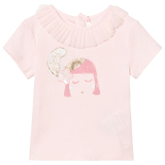 Billieblush Pale Pink Face Print Tee with Ruffle Tulle Collar 447