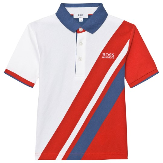 BOSS Navy, White Red Banner Stripe Polo 988
