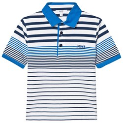 BOSS Blue and White Jersey Polo