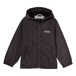 BOSS Charcoal Water Repellent Hooded Windbreaker with Jersey Lining