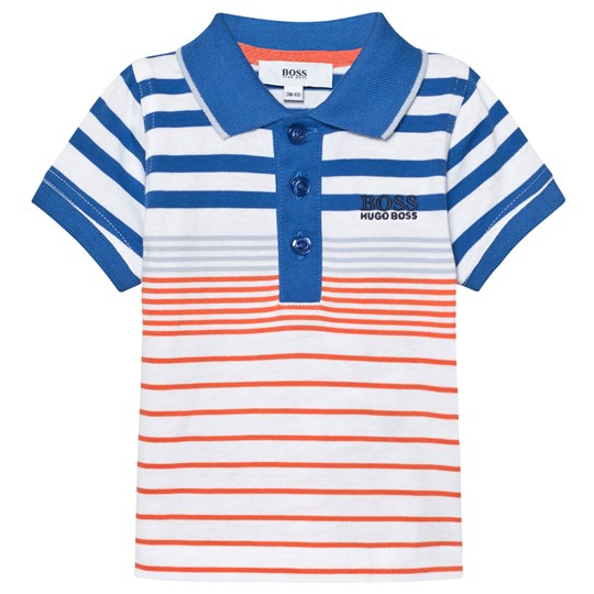 BOSS Blue and Orange Stripe Jersey Polo V24