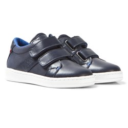 BOSS Navy Velcro Branded Leather Trainers