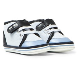 BOSS Pale Blue and Navy Canvas Crib Trainers