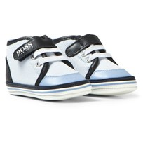 BOSS Pale Blue and Navy Canvas Crib Trainers 771