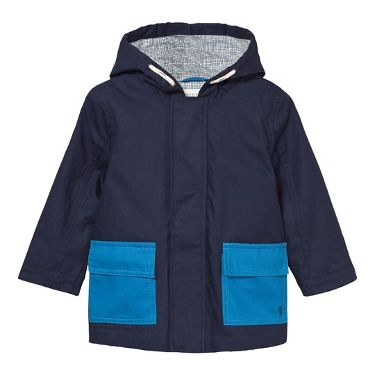 Carrément Beau Navy and Blue Cotton Hooded Jacket 85T