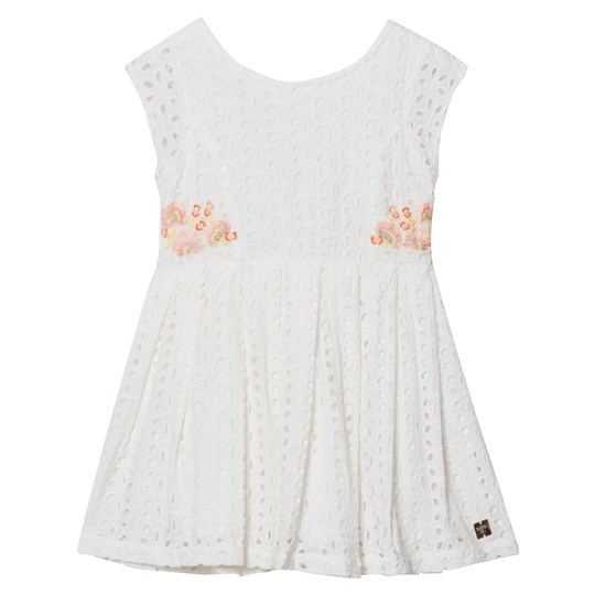 Carrément Beau White Cotton Broderie Anglaise Embroidered Flower Dress 117