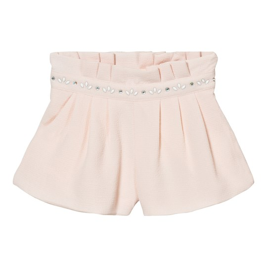 Carrément Beau Pale Pink Crepe Shorts with Jewelled Waistband 45L