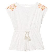 Carrément Beau White Broderie Anglaise Playsuit with Floral Embroidery 117