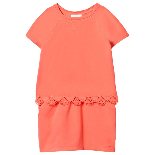 Chloé Embroidered Anglaise Detail Tiered Dress Apricot 432