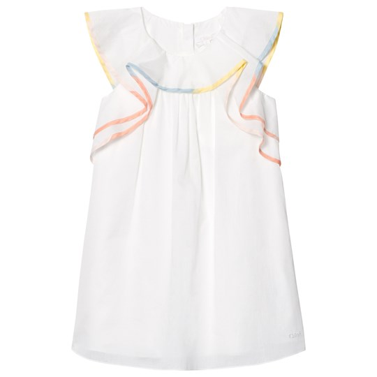 Chloé White Frill Dress with Rainbow Trim 117