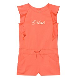Chloé Branded Jersey Frill Sleeve Romper Coral