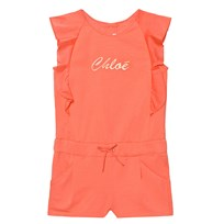 Chloé Coral Branded Jersey Frill Sleeve Playsuit 432