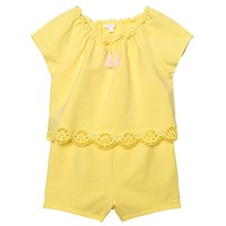 Chloé Yellow Jersey Playsuit with Tiered Scallop Front 521