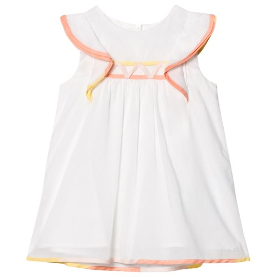 Chloé White Frill Shoulder Dress with Pink and Yellow Trim 117