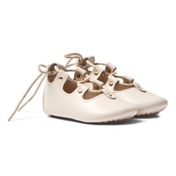 Chloé Pale Pink Leather Lace Up Crib Shoes