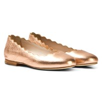 Chloé Rose Gold Leather Ballerina Pumps 362
