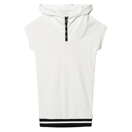 DKNY Off White Branded Hooded Jersey Dress 153