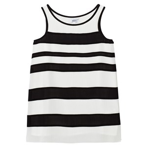 Image of DKNY Black and White Striped Pleated Voile Dress 10 years (2743803721)