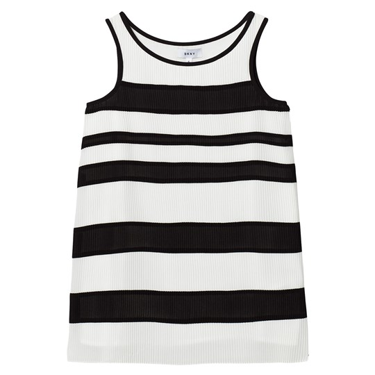 DKNY Black and White Striped Pleated Voile Dress 153