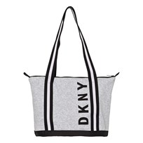 DKNY Grey and Black Branded Jersey Bag A10