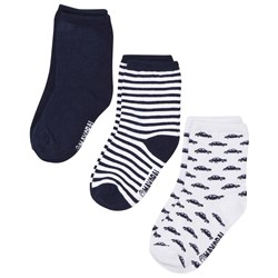 Mayoral 3 Pack of Blue Car, Stripe and Solid Socks