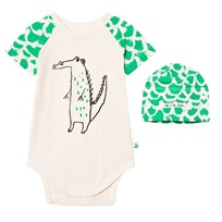Noe & Zoe Berlin Green Crocodile Print Baby Body and Hat Gift Box GREEN CROCO + CROC