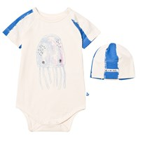 Noe & Zoe Berlin Blue Jellyfish Print Baby Body and Hat Gift Set BLUE STRIPES + JELLYFISH