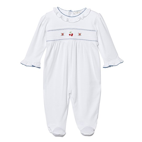 Kissy Kissy White Smocked Cherry and Floral Hand Embroidered Footed Baby Body WHNV