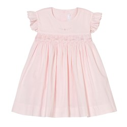 Kissy Kissy Pink Hand Smocked Rose Bud Frill Sleeve Dress
