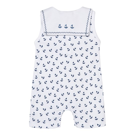 Kissy Kissy Navy Boat Print Collared Romper with Embroidered Bib WHNV