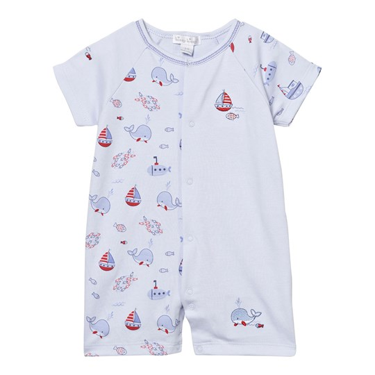 Kissy Kissy Romper Blue Whale Print and Embroidery LB