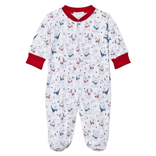 Kissy Kissy Footed Baby Body White Puppy Print PUP