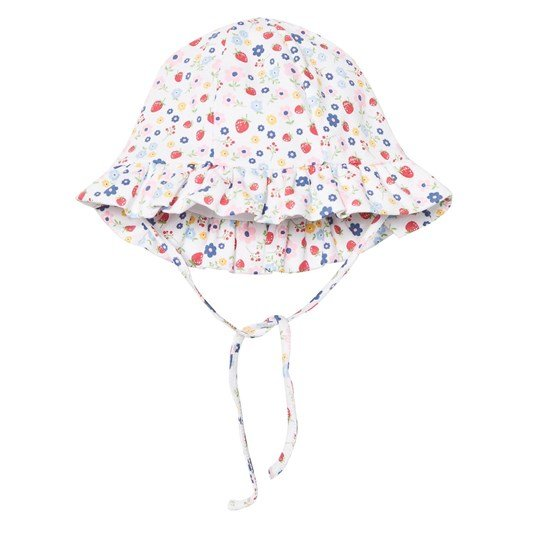 Kissy Kissy White Floral and Strawberry Print Sun Hat WH