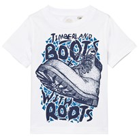 Timberland White Boots with Roots Print Tee 10B