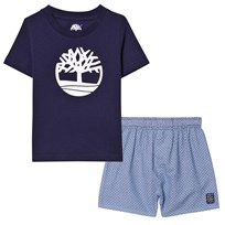 Timberland Navy Logo Tee and Shorts Pyjama Set in Bag Z40