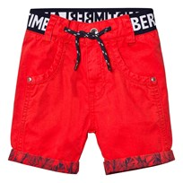 Timberland Red Branded Cotton Turn Up Shorts 97E