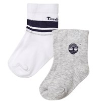 Timberland Pack of 2 Grey and White Branded Socks A32