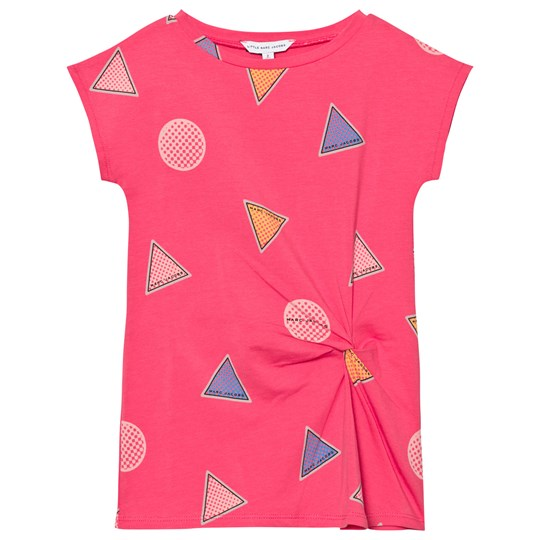 Little Marc Jacobs Pink Branded Badge Print Twist Dress S48